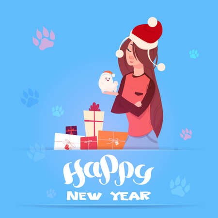 Woman In Santa Hat Holding Cute Pomerian Dog Winter Holidays 2018 Banner New Year Greeting Card Design Flat Vector Illustration