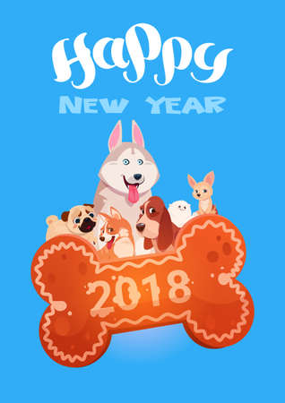 Happy New Year 2018 Greeting Card With Cute Dogs On Bone Shape Cookie Flat Vector Illustration