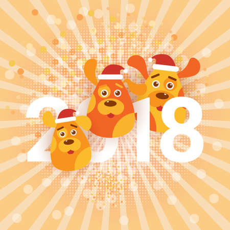 Cute Holiday Banner Dogs Wearing Santa Hats Happy New Year 2018 Sign Vector Illustration