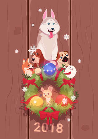New Year 2018 card with cute dogs on fir garland decoration, vector illustration. Illustration