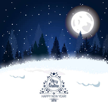 Christmas winter forest landscape fir trees over moon and stars in sky background, vector illustration. 向量圖像