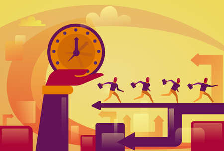 Hand holding big watch over running business people. Deadline concept, vector illustration.
