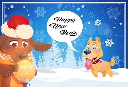 Happy winter holidays banner background with cute dogs over snowy forest. New Year greeting poster, vector illustration. Illustration