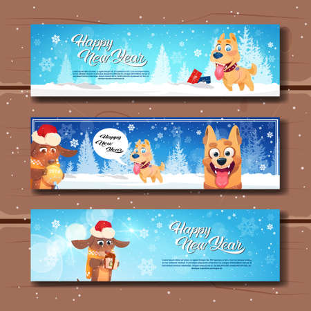 Set Of Happy New Year Horizontal Banners With Cute Dogs On Wooden Textured Background Flat Vector Illustration Stock Photo
