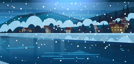 Winter Landscape Of Small Village Houses On Banks Of Frozen River And Mountain Hills Covered With Snow Night View Flat Vector Illustration