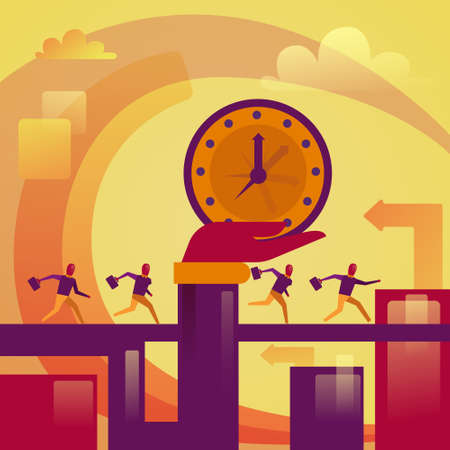Hand Holding Big Watch Over Running Bsuiness People Deadline Concept Vector Illustration