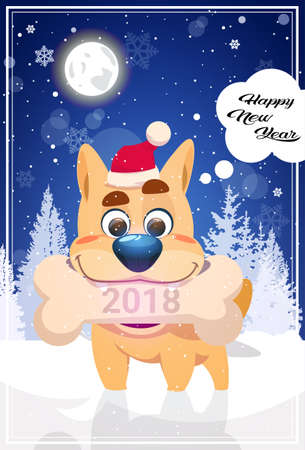 Happy New Year Greeting Card With Dog In Santa Hat Holding Christmas Bone 2018 Symbol Over Night Winter Woods Flat Vector Illustration