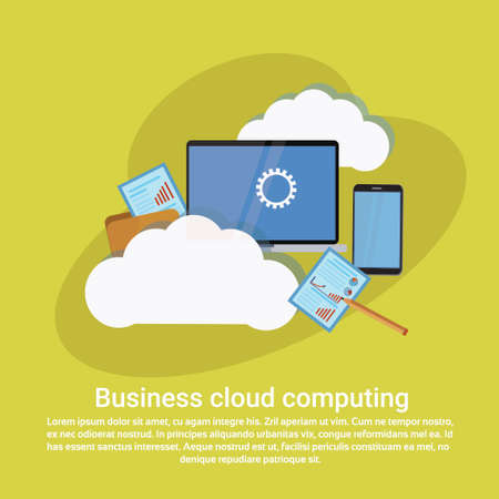 Business cloud computing services. Web template banner with copy space, vector illustration. Illustration