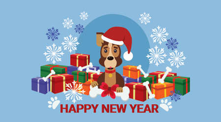 Winter holidays poster New Year 2018. Symbol dog wearing Santa hat over pile pf present boxes, vector illustration.
