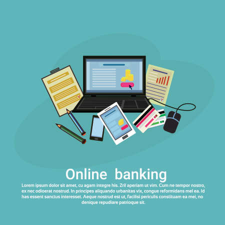 Online banking web template banner with copy space, vector illustration.