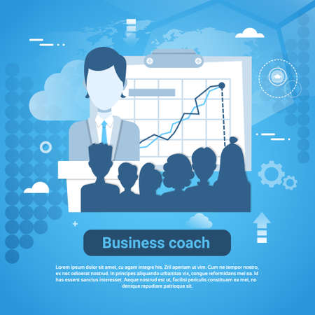Business Coach Template Web Banner With Copy Space Vector Illustration.