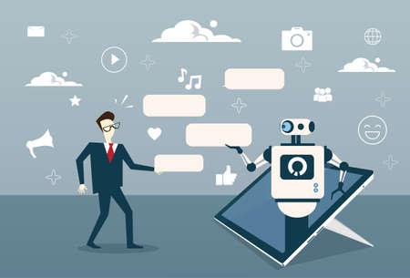 Uomo che chiacchiera con il Bot di chiacchierata dall'illustrazione di vettore di tecnologia di sostegno di Digital dello Smart Phone delle cellule o della compressa di Digital.