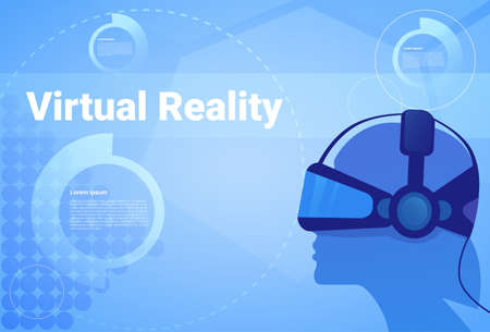 Man In Virtual Reality Headset Background With Copy Space Head Wearing Vr Goggles Modern Technology Concept Vector Illustration.