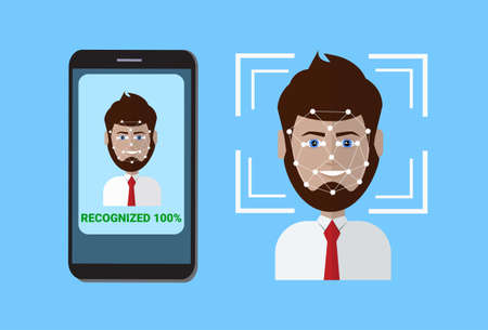 Biometric Scanning System Of Control Protection Smart Phone Scan User Face, Facial Recognition Technology Concept Vector Illustration Vettoriali