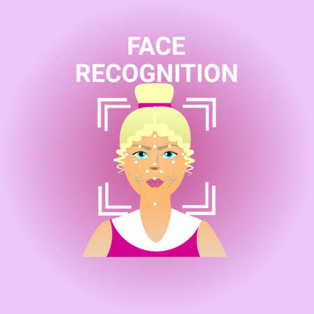 Biometrics Scanning Face Recognition Of Female Icon Modern Identification Technology Vector Illustration