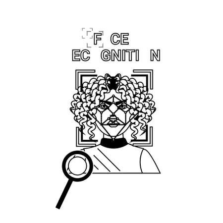 Biometrics Scanning Icons Set Face Recognition Concept Vector Illustration