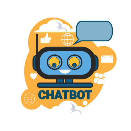 Chatbot Icon Concept Support Robot Technology Digital Chat Bot Application Vector Illustration Illustration
