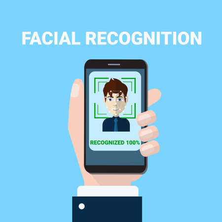 Facial Recognition Concept Hand Holding Smartphone Scanning Of Male Face Biometrics Scan Access Technology Concept Vector Illustration
