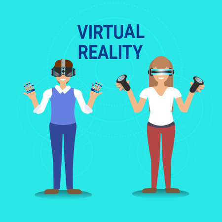 Virtual Reality Gaming Man And Woman Wearing Vr Glasses Hold Gamepad Modern Technology Concept Vector Illustration