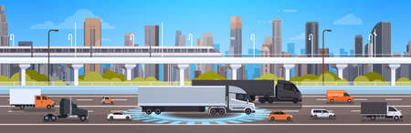 Modern Highway Road With Cars, Lorry And Cargo Trucks Over City Background Traffic Concept Flat  Illustration