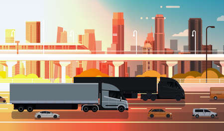 Highway Road With Cars, Lorry And Cargo Trucks Over City Backgrund Traffic Concept Flat Vector Illustration