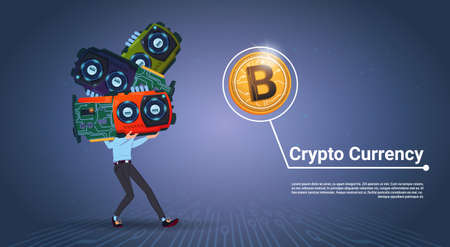 Man Holding Microchips Crypto Currency Concept Digital Modern Web Bitcoins Over Blue Background Vector Illustration