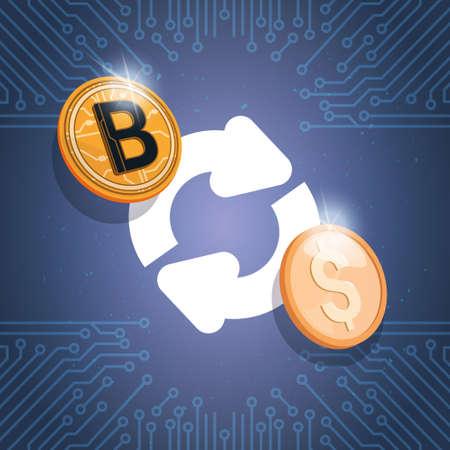 Bitcoin Exchange Icon Digital Crypto Currency Modern Web Money Vector Illustration