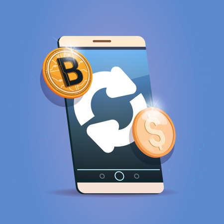 Bitcoin Exchange Icon On Cell Smart Phone Digital Crypto Currency Modern Web Money Vector Illustration