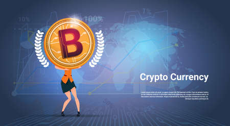 Crypto Currency Banner Woman Holding Golden Bitcoin Over World Map Background Digital Web Money Concept Vector Illustration