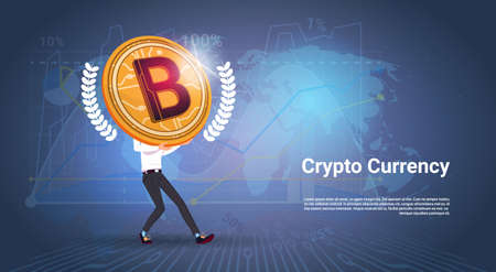 Crypto Currency Banner Man Holding Golden Bitcoin Over World Map Background Digital Web Money Concept Vector Illustration