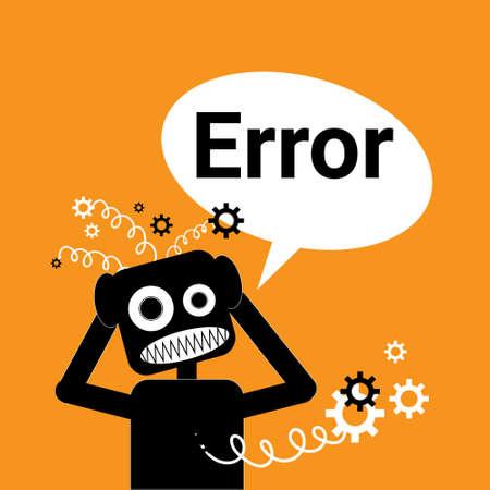 Robot Broken Error Message In Chat Bubble Vector Illustration
