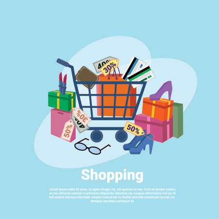 Shopping Baner Concept With Trolley Cart Clothes Retail Store Commerce Flat Vector Illustration Illustration