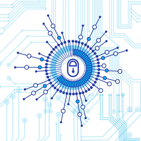 Concepto de seguridad de acceso cerrado de bloqueo de protección de datos y seguridad ilustración vectorial Foto de archivo - 91088564