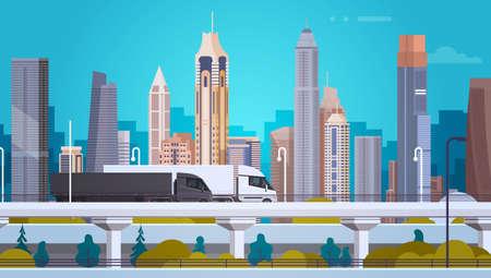 paisaje de fondo de la ciudad moderna con vehículos semi remolque vehículos en la carretera plana ilustración vectorial