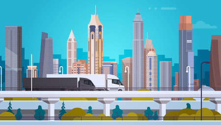 Modern City Landscape Background With Semi Truck Trailers Vehicles On Highway Road Flat Vector Illustration