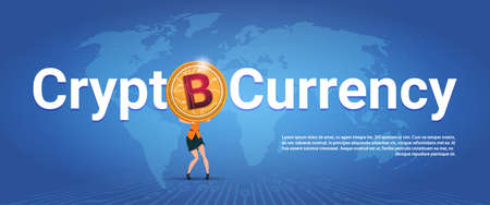 Crypto Currency Horizontal Banner Woman Holding Golden Bitcoin Over World Map Background Digital Web Money Concept Vector Illustration