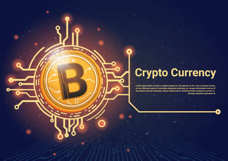 Crypto Currency Bitcoin Banner With Place For Text Digital Web Money Concept Vector Illustration