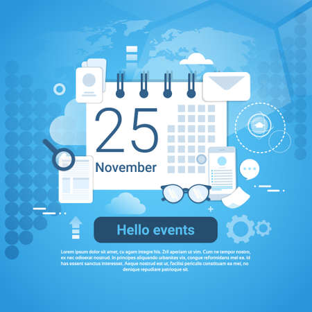 Hello Events Time Management Template Web Banner With Copy Space Illustration.