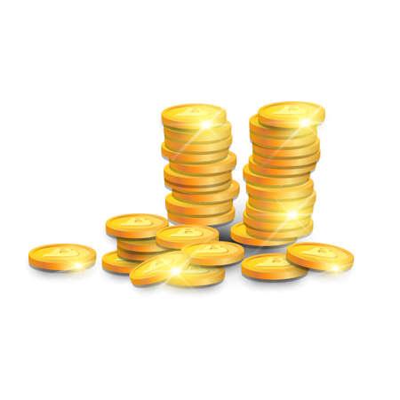 Stack Of Golden Bitcoins Isometric Design Modern Web Money Digital Currency Logo Concept Vector Illustration Illustration