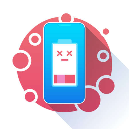 Battery Charge Icon Low Level Red Indicator Vector Illustration Illustration