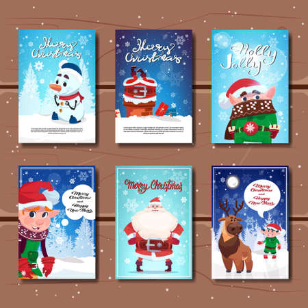 Holiday Celebration Invitations Design Set Of Christmas And New Year Greeting Cards Flat Vector Illustration
