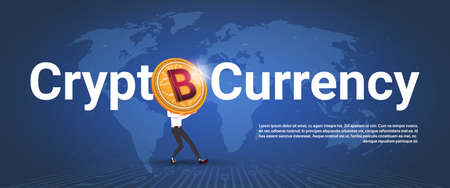 Crypto currency horizontal banner golden bitcoin over world map 91776675 crypto currency horizontal banner man holding golden bitcoin over world map background digital web money concept vector illustration gumiabroncs Choice Image