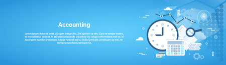 Accounting audit business horizontal web banner with copy space flat. Vector illustration Vectores