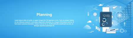 Planning Time Management Business Concept Horizontal Banner With Copy Space Flat Style Illustration. 일러스트