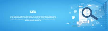 Seo Optimization Concept Horizontal Web Banner With Copy Space Flat Vector Illustration Illustration