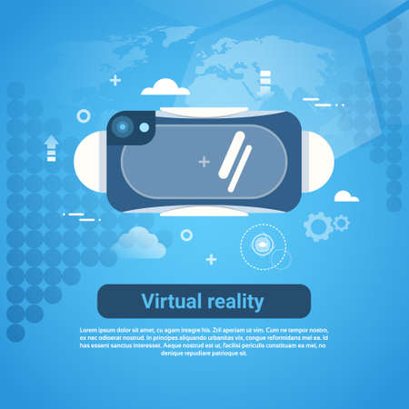 Virtual Reality Concept 3d Glasses Web Banner With Copy Space Flat Vector Illustration