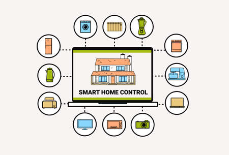Smart Home Control System Devices Automation Concept Modern House Technology Thin Line Vector Illustration