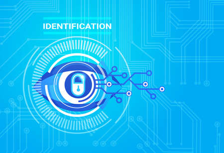 Identificatiesysteem Retina Scanning Toegang Technologie Bescherming en Security Concept Vector Illustratie