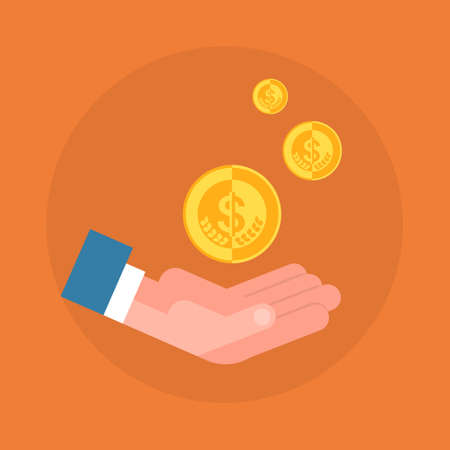 Business Man Hand Holding Coin Icon Savings And Wealth Concept Flat Vector Illustration Illustration