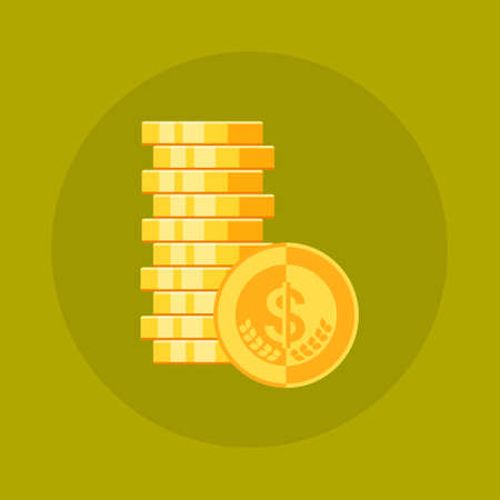 Dollar Coins Stack Icon Money Concept Flat Vector Illustration